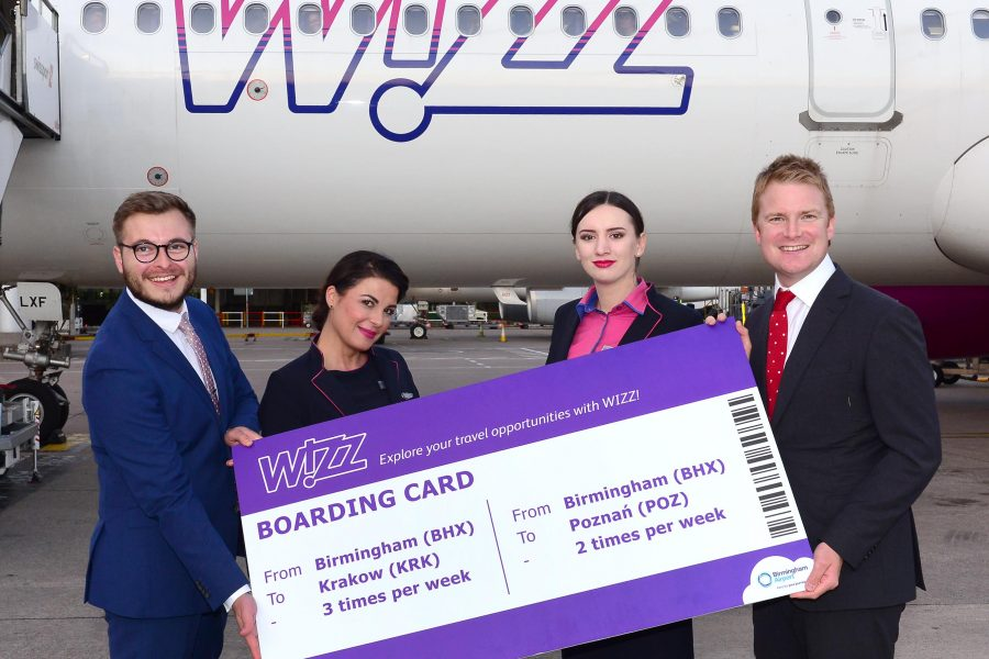 WIZZ AIR LAUNCHES FLIGHTS TO KRAKOW & POZNAN FROM BIRMINGHAM AIRPORT